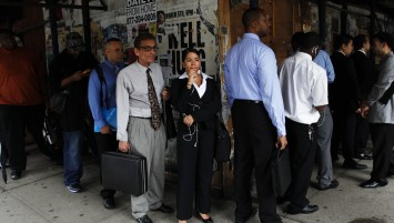 The line at the job fair is not the result of immigration to the US.  Credit REUTERS/SHANNON STAPLETON