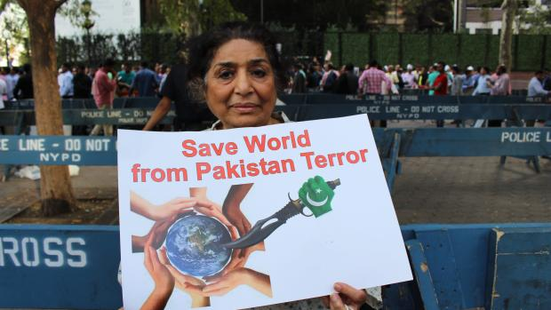 Raju Batheja, a member of the group, at the protest outside the UN.